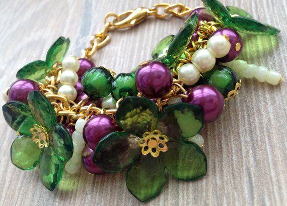 Chunky Crystal en parel kralen armband / kralen door ElenaVorobey