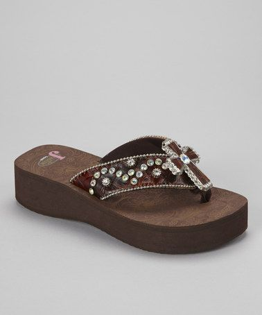 6e2879cd22223c Take a look at this Brown Isabel Platform Flip-Flop - Women by Justin Boots  on  zulily today!