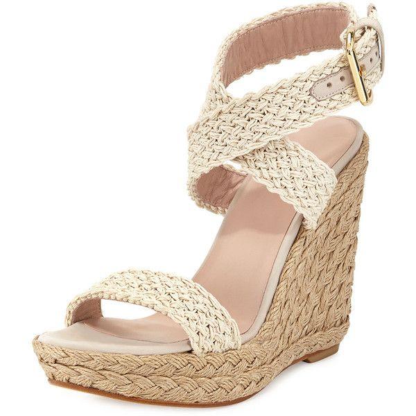 Stuart Weitzman Alex Crochet Ankle-Wrap Wedge ($112) ❤ liked on Polyvore