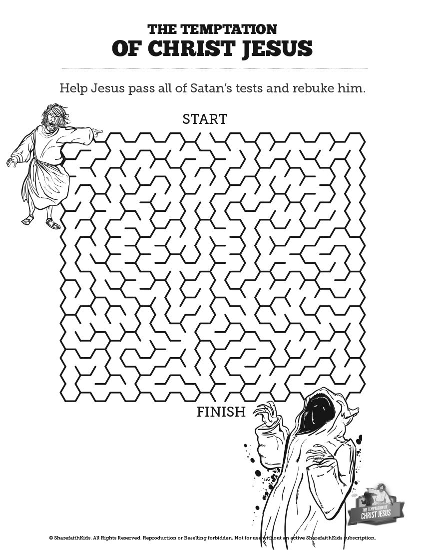 matthew 4 jesus tempted bible mazes this jesus tempted printable