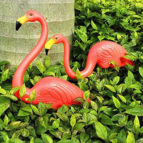 Global Brands Online 2pcs Garden Decoration Artificial Red Flamingos