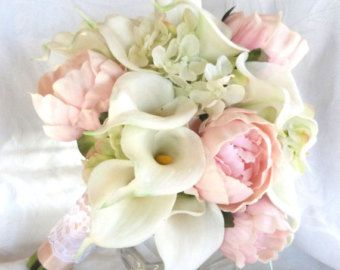 Cascading calla lily lilacs and hydrangea wedding bouquet all white bridal bouquet