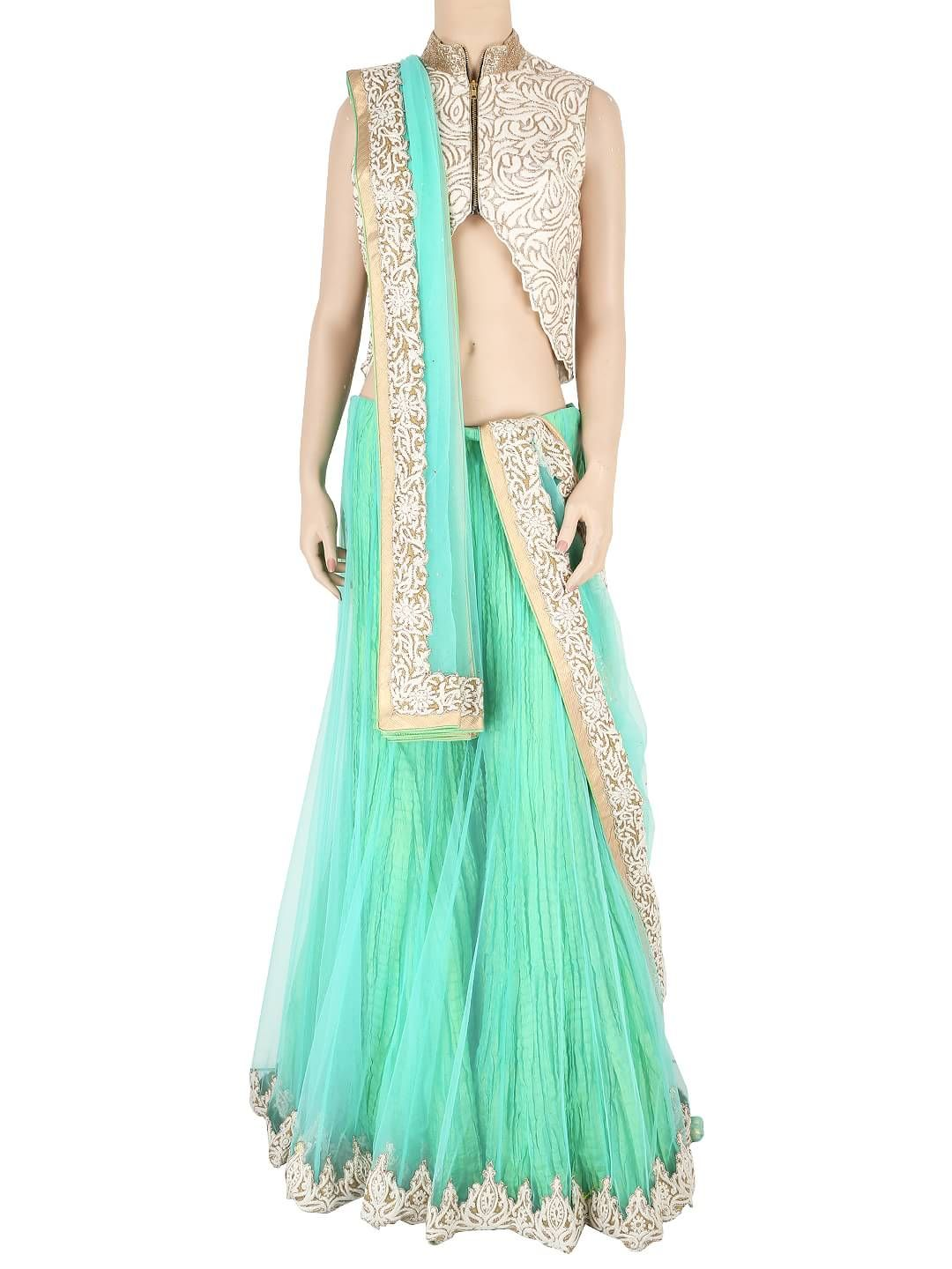 Green Net Ready Made Sharara Style Lehenga Choli  For price or detail do whatsApp +91-9913433322