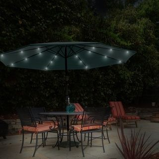Havenside Home Boynton 10 Foot Patio Umbrella With Solar Powered Led Lights Tan Steel Solid Solar Powered Led Lights Patio Patio Umbrellas
