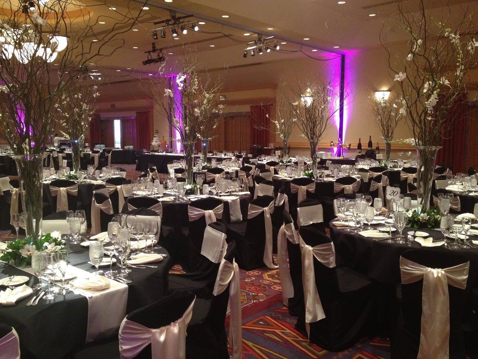 Black Chair Covers Ivory Satin Sashes At The Arizona Grand Black Chair Covers Wedding Linens White Decor
