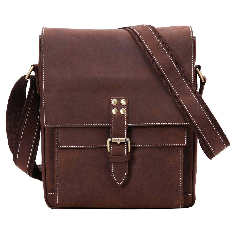 cd8b8293043 Leathario Retro Mens Leather Messenger shoulder bag Satchel crossbody bag    For more information, visit