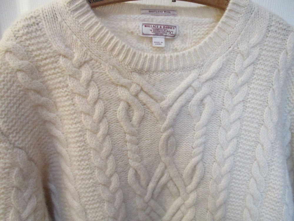 3d2865b32148 Wallace and Barnes Mens XL Shetland Wool Cable Sweater J Crew Cream ...