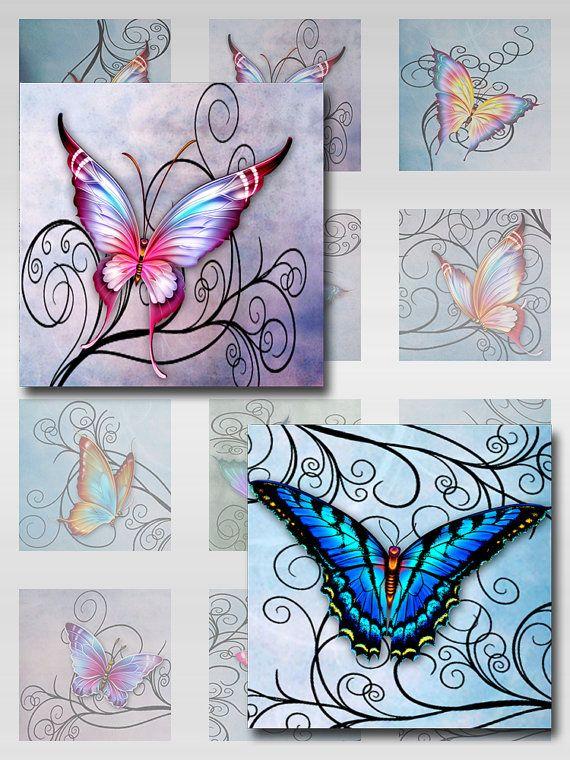butterflies swirls pastel watercolor paper instant download for glass resin scrabble tile. Black Bedroom Furniture Sets. Home Design Ideas