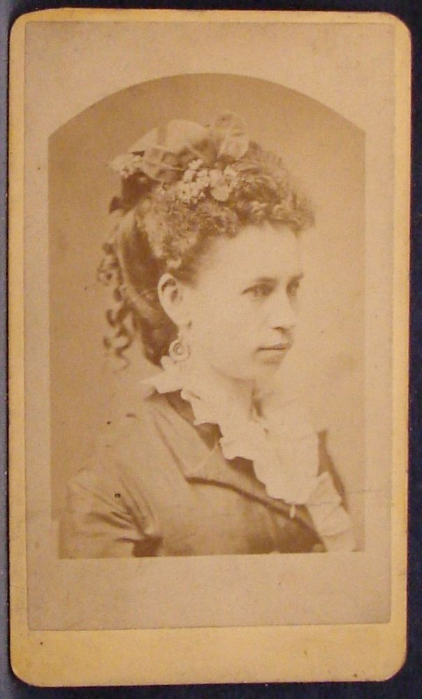 CDV Photo Woman Profile Elaborate Updo Hair Flowers Bows by Harry Wooster Ohio