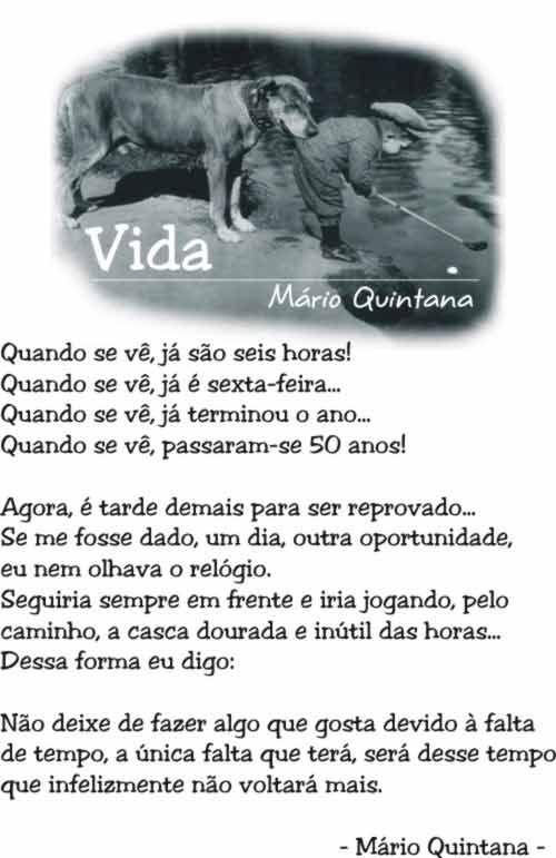 Poema De Mario Quintana Vida Frases Bonitas Sobre A Vida