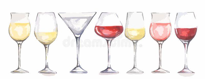 Watercolor Wine Glasses Set Beautiful Glasses For Decoration Menu In Restaurant Ad Set Beautiful Glasses Wate Wine Painting Wine Glass Wine Glasses