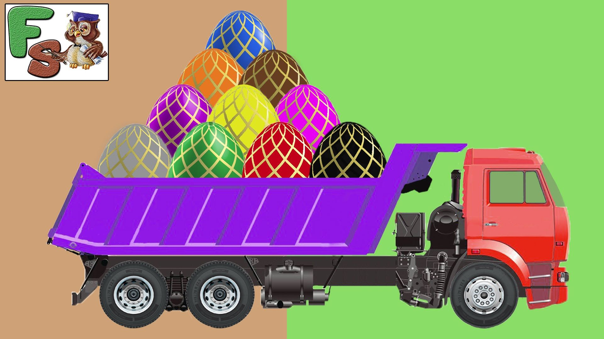 monster truck cars for kidssurprise eggs fruits colors numbers video for children is a learning cartoon for our child in english