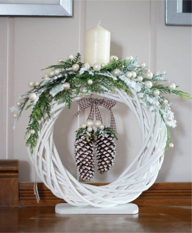 Photo of winter pinecone table wreath