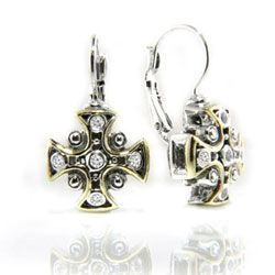 John Medeiros Filigree Cross CZ Fr.Wire Earrings