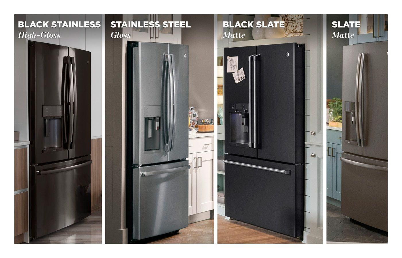 Premium Appliance Finishes In Stainless Steel Black Stainless Slate And Black Slate Slate Appliances Slate Appliances Kitchen Black Stainless Steel Kitchen