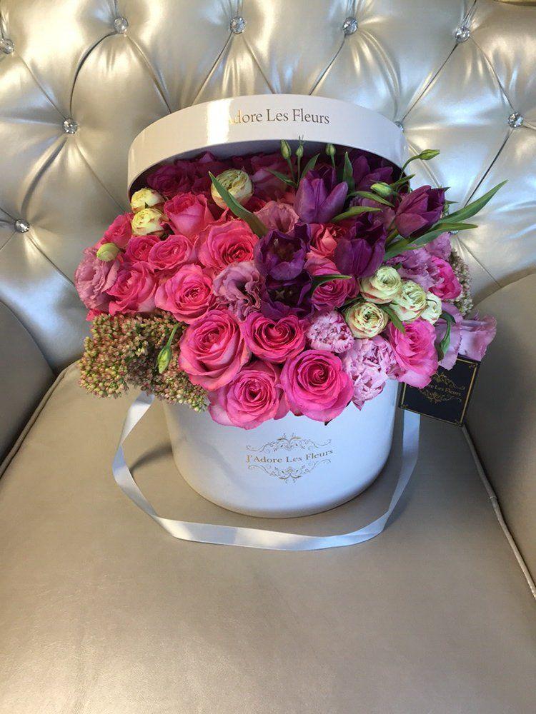 j'adore les fleurs, bouquet, roses, elegant flowers, hatbox