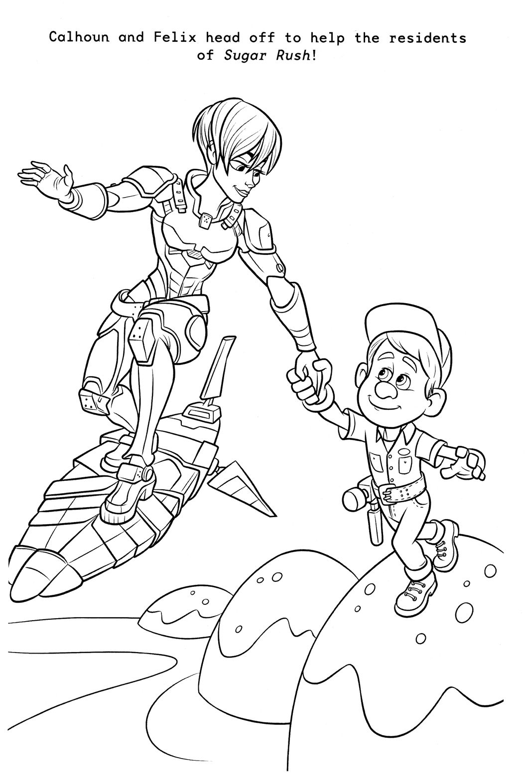 Calhoun And Felix Coloring Page Wreck It Ralph Disney
