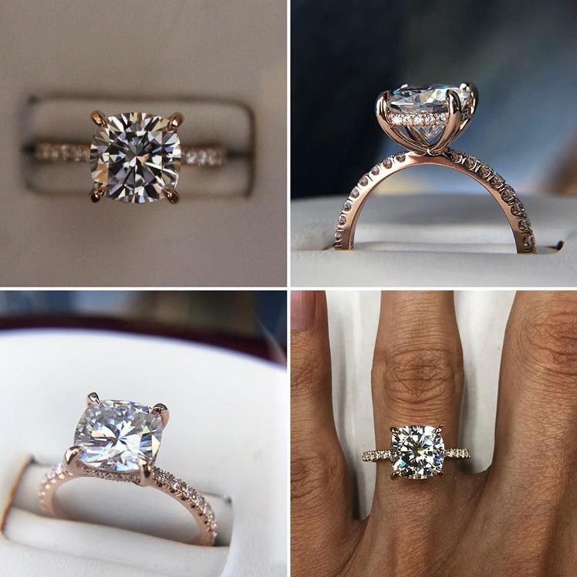 3 50 Carat Cushion Moissanite Diamond Hidden Halo Engagement Etsy Rose Engagement Ring Rose Gold Engagement Ring Yellow Gold Engagement Rings