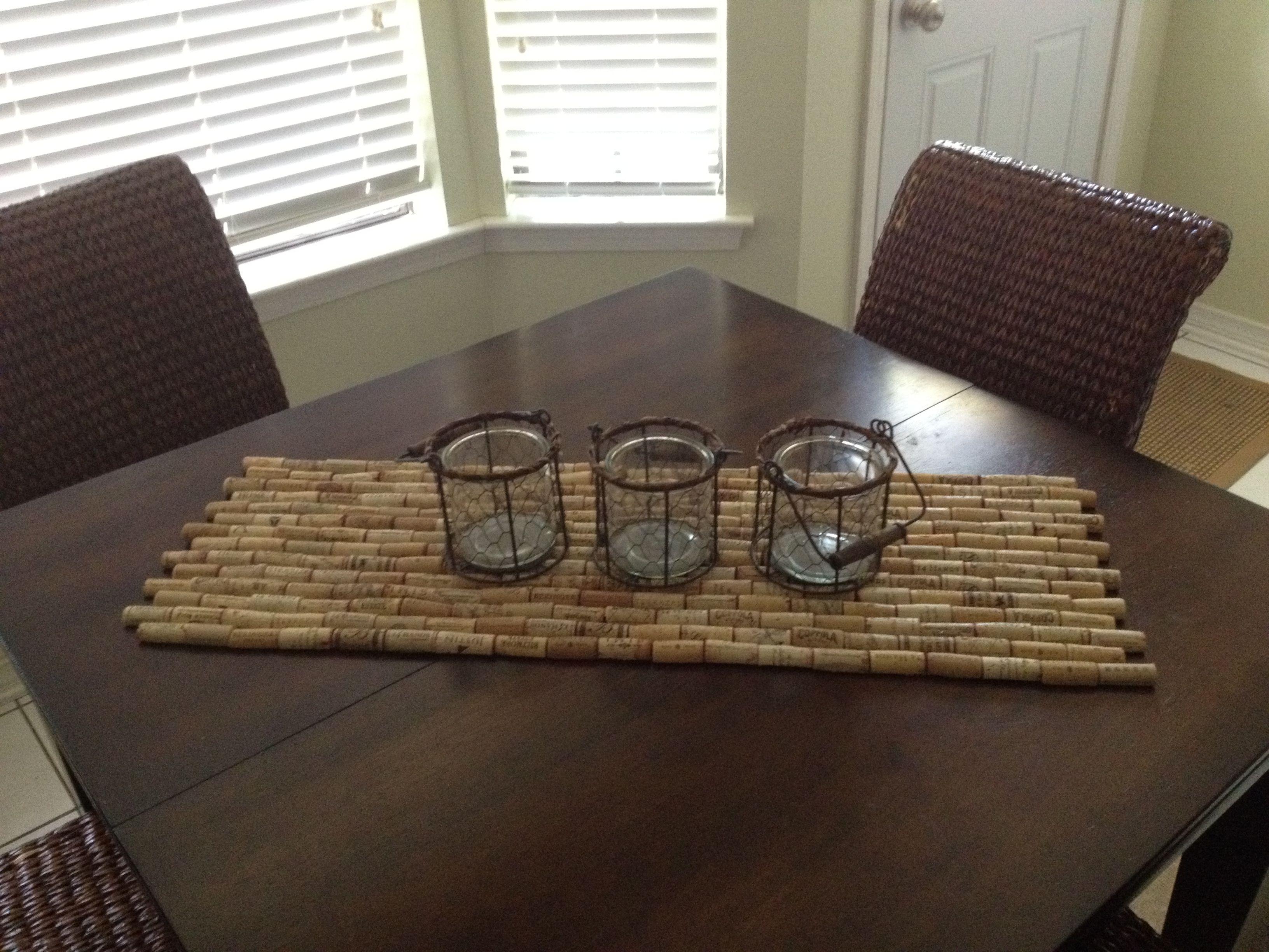Wine bottle corks crafts - Wine Cork Table Runner