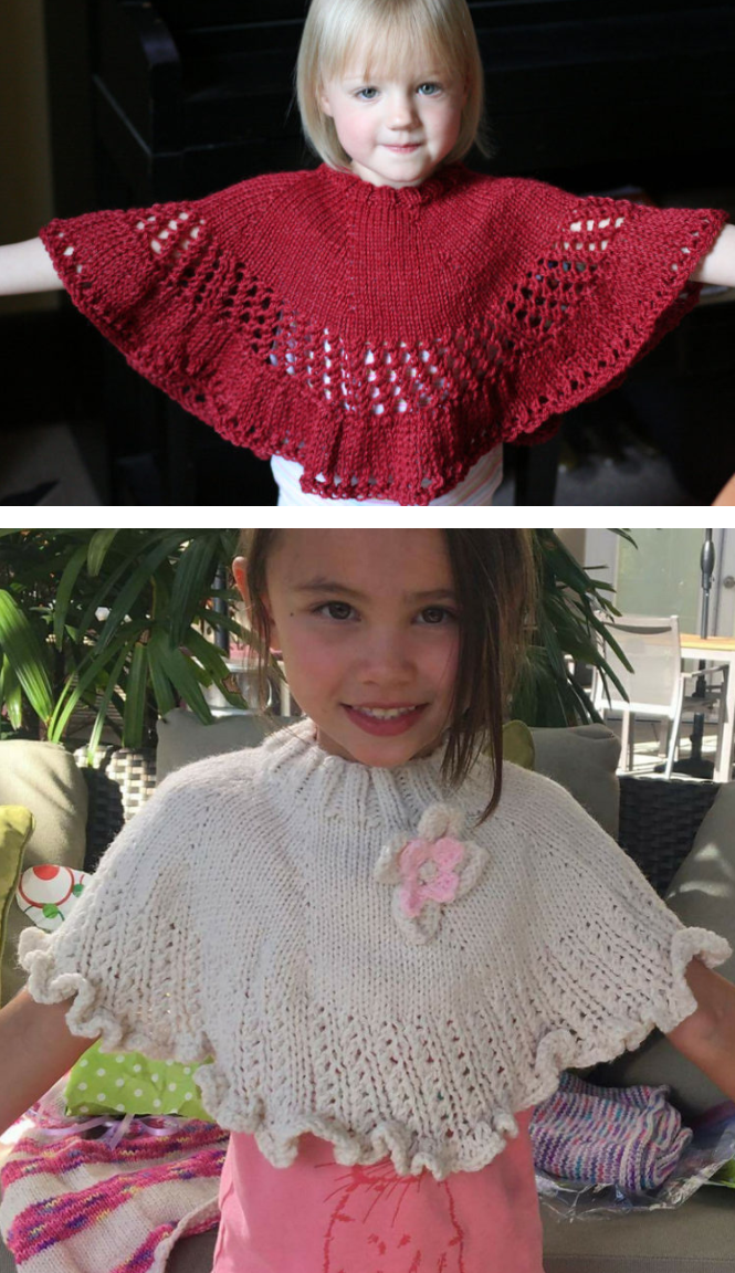 Free Knitting Pattern For Kiddie Capelet Child Sized Poncho With