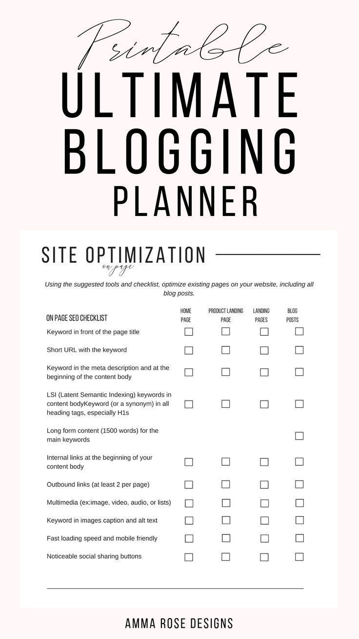 Printable Blog Workbook, Blog Planner, Blog Post P