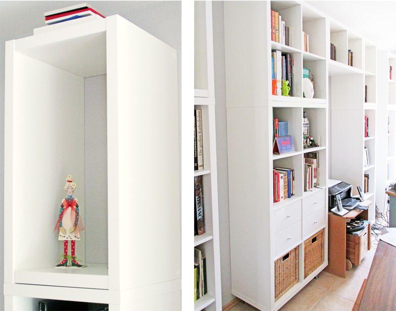 Zwei Ikea Kallax Schubladenelemente In Weisser Glanzoptik Geben Der Selbstgebauten Regalwand Noch Einen Zustzlichen Edlen Touch