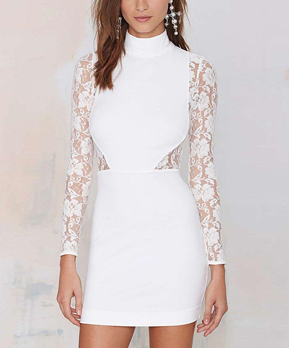 White Lace Turtleneck Dress Lace Bodycon Dress Long Sleeve White Bandage Dress Lace Panel Dress [ 1201 x 1000 Pixel ]
