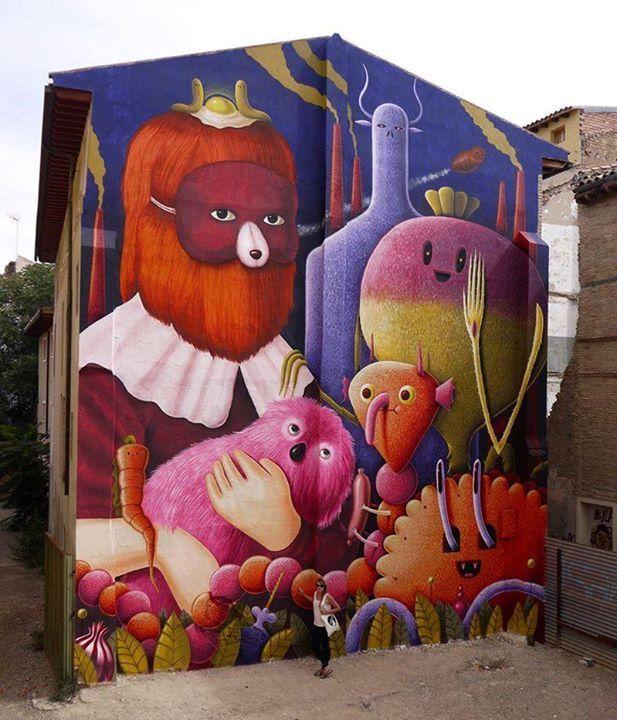 by Nicolas Barrome and Amandine Urruty - New mural - for ASALTO (Festival Internacional de Arte Urbano - Noveno Asalto) - Zaragoza, Spain - Sept 2014