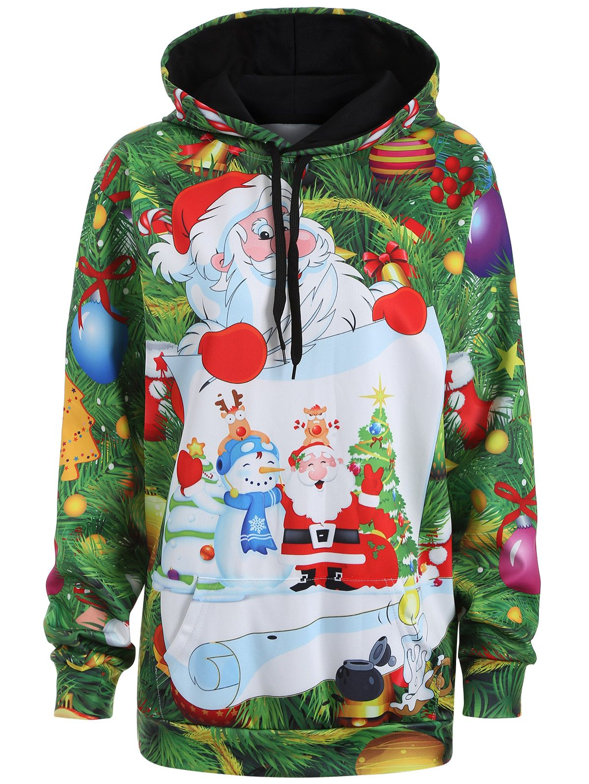 4ad2c30ece6 Plus Size Christmas Santa Claus Drawstring Tunic Hoodie