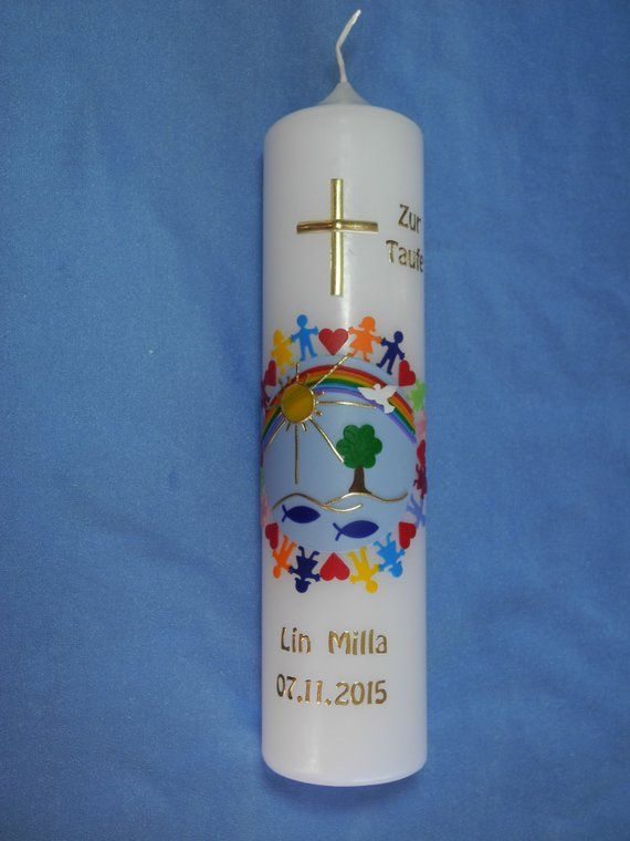 "Photo of Christening candle communion Candle Girl Young ""children of this Earth + Rainbow"" + Cross"