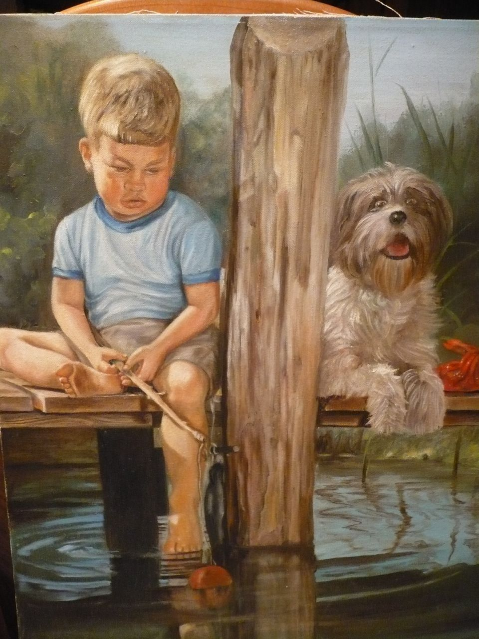 Oil painting little boy fishing with dog on for Little boy fishing