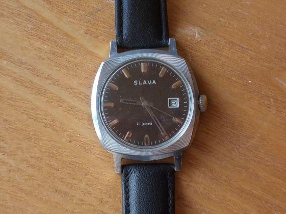 Vintage Mens Watch SLAVA / Working Watch / Soviet by EUvintage