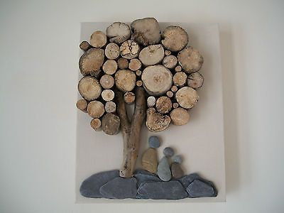 Beach pebble art picture driftwood on canvas handmade unique ...