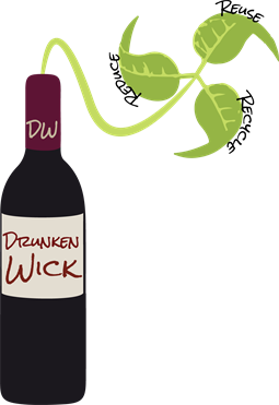 Drunken Wick Logo: Candles that Reduce, Reuse, Recycle.