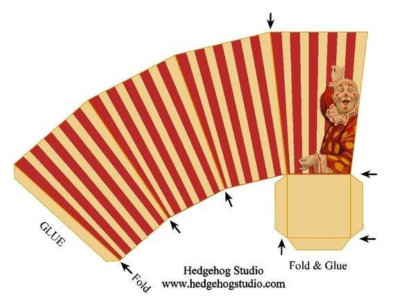 vintage circus popcorn box favor template box pinterest circo