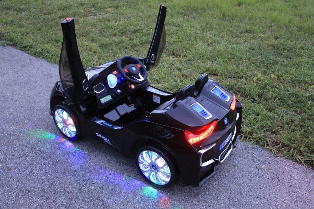 led wheels 2016 sport bmw i8 style powered car for kids black