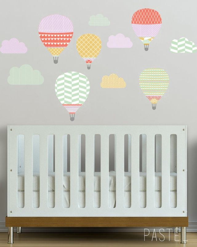 Girls Pastel Hot Air Balloons Wall Decal | On its way ...
