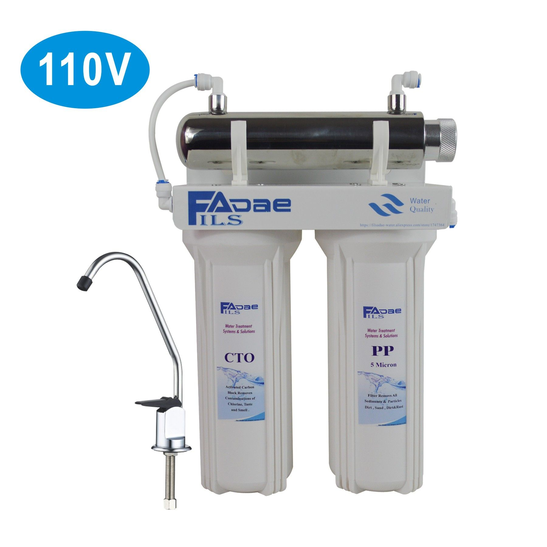 3 Stage Under Sink Drinking Water Filtration System With 6w