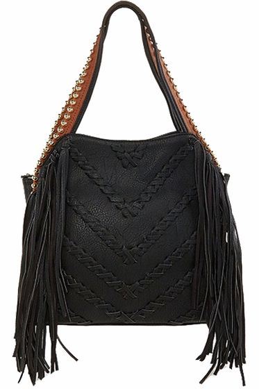 11b112bec2 Big Buddha Graya Black Fringe Hobo Bag