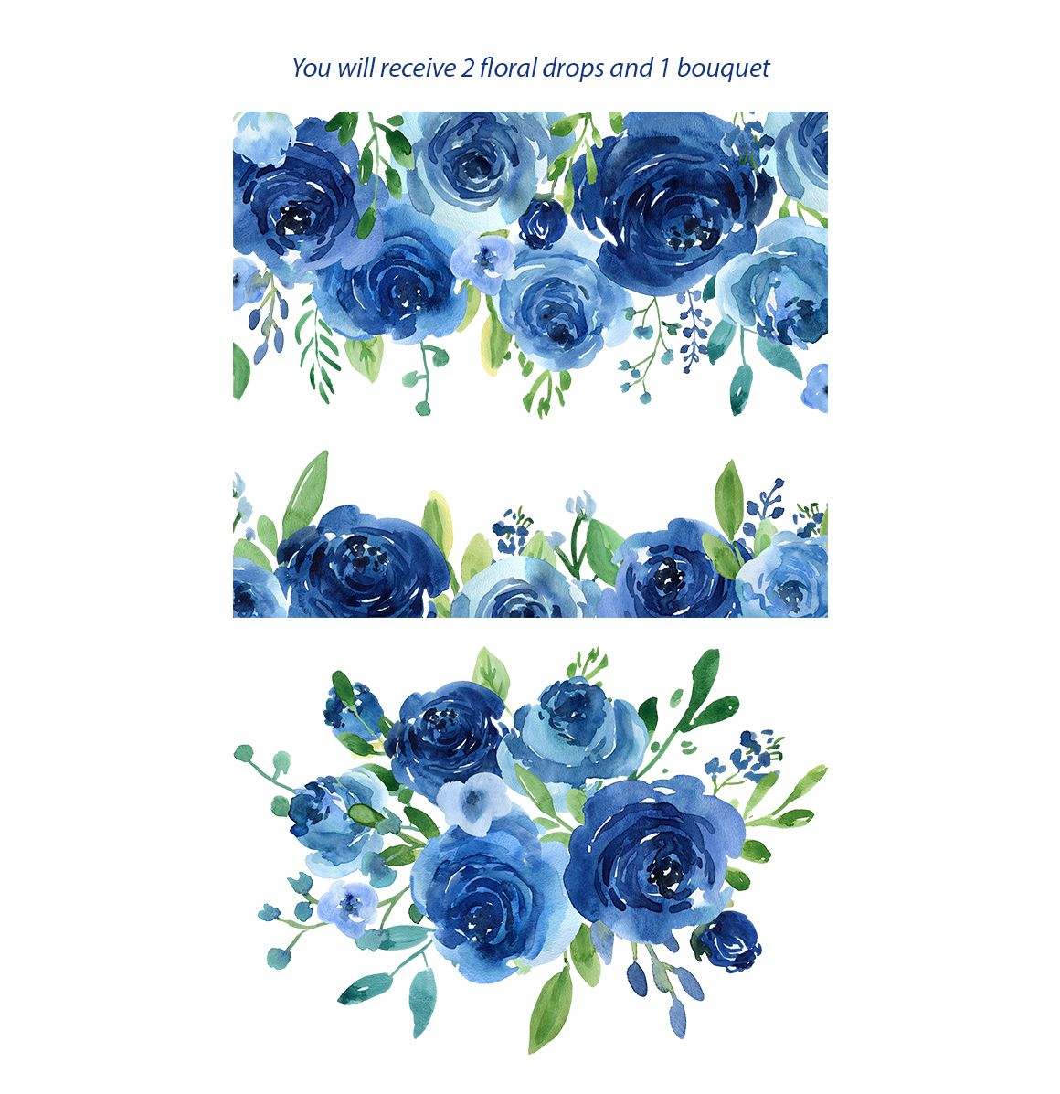 Blue Watercolor Roses Flowers Leaves Watercolor Flowers