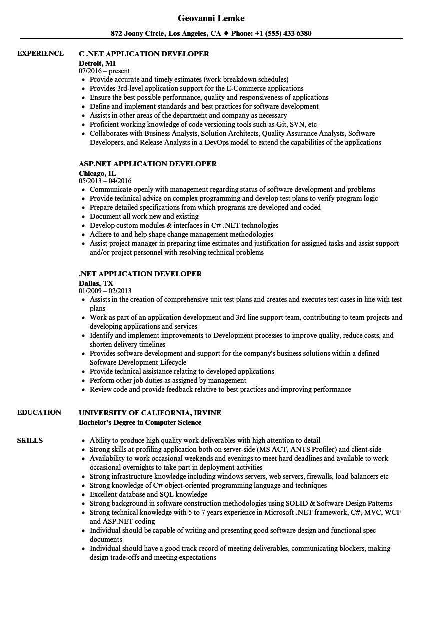 NET Application Developer Resume Samples Velvet Jobs
