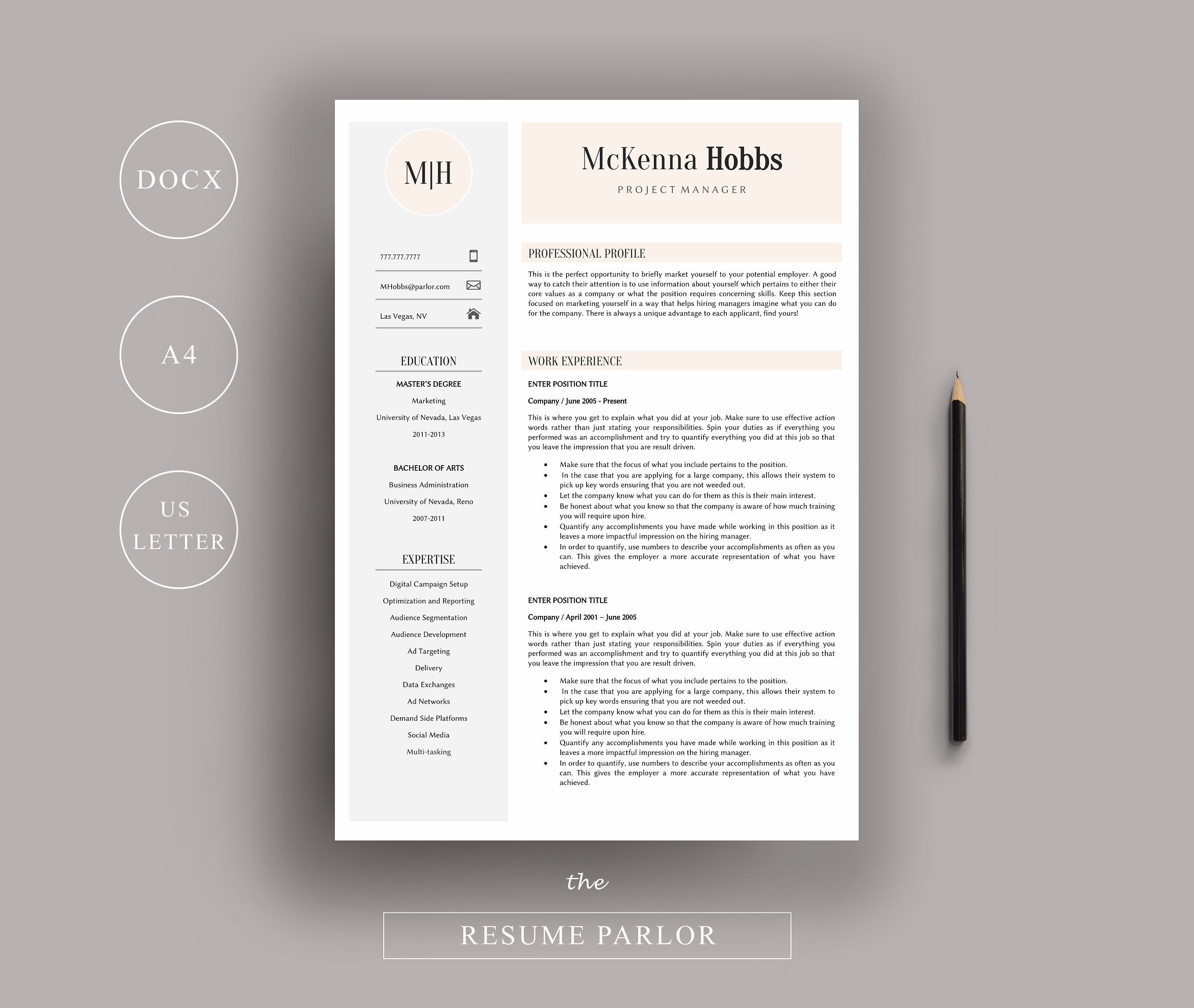 Resume  Page  Us  A By The Resume Parlor On Creativemarket