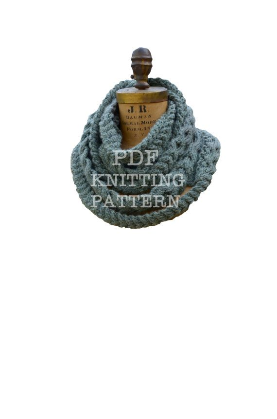 Triple Plait Infinity Scarf PDF Knitting Pattern Instant Download ...