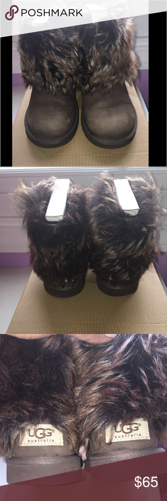 "Ugg Little Girl Fur Boots Great condition Little girl ""K Ellee"" fur ugg boots. Size 13 UGG Shoes Boots"