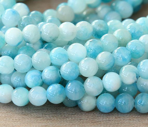 Mountain Jade Beads, Baby Blue Mix, 6mm Round - 15 Inch Strand