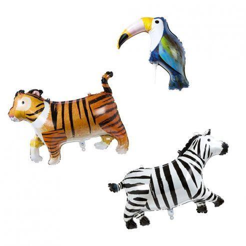 Lot de 3 ballons  quot animaux exotiques quot   Lo
