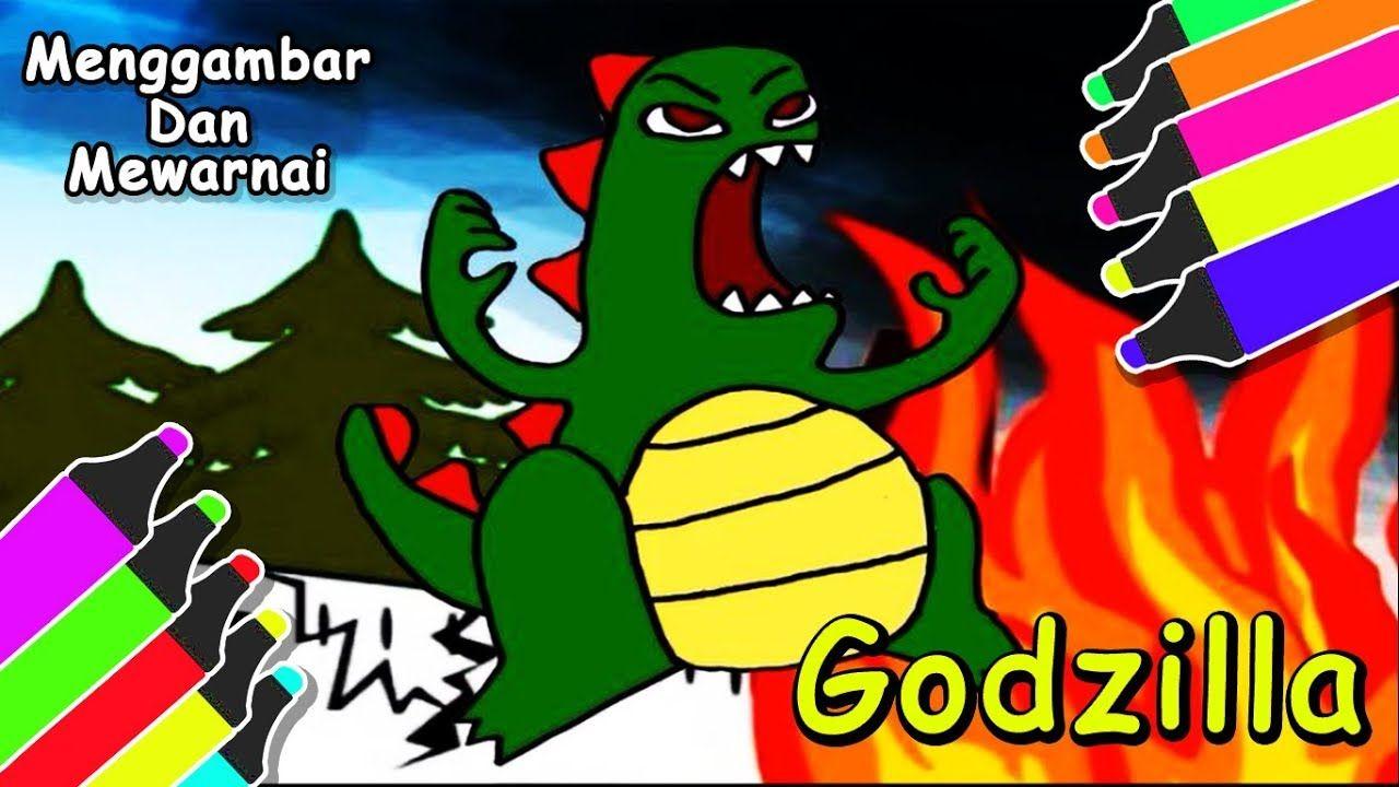 Lari Ada GODZILLA Gambar & Mewarnai Godzilla Untuk Anak