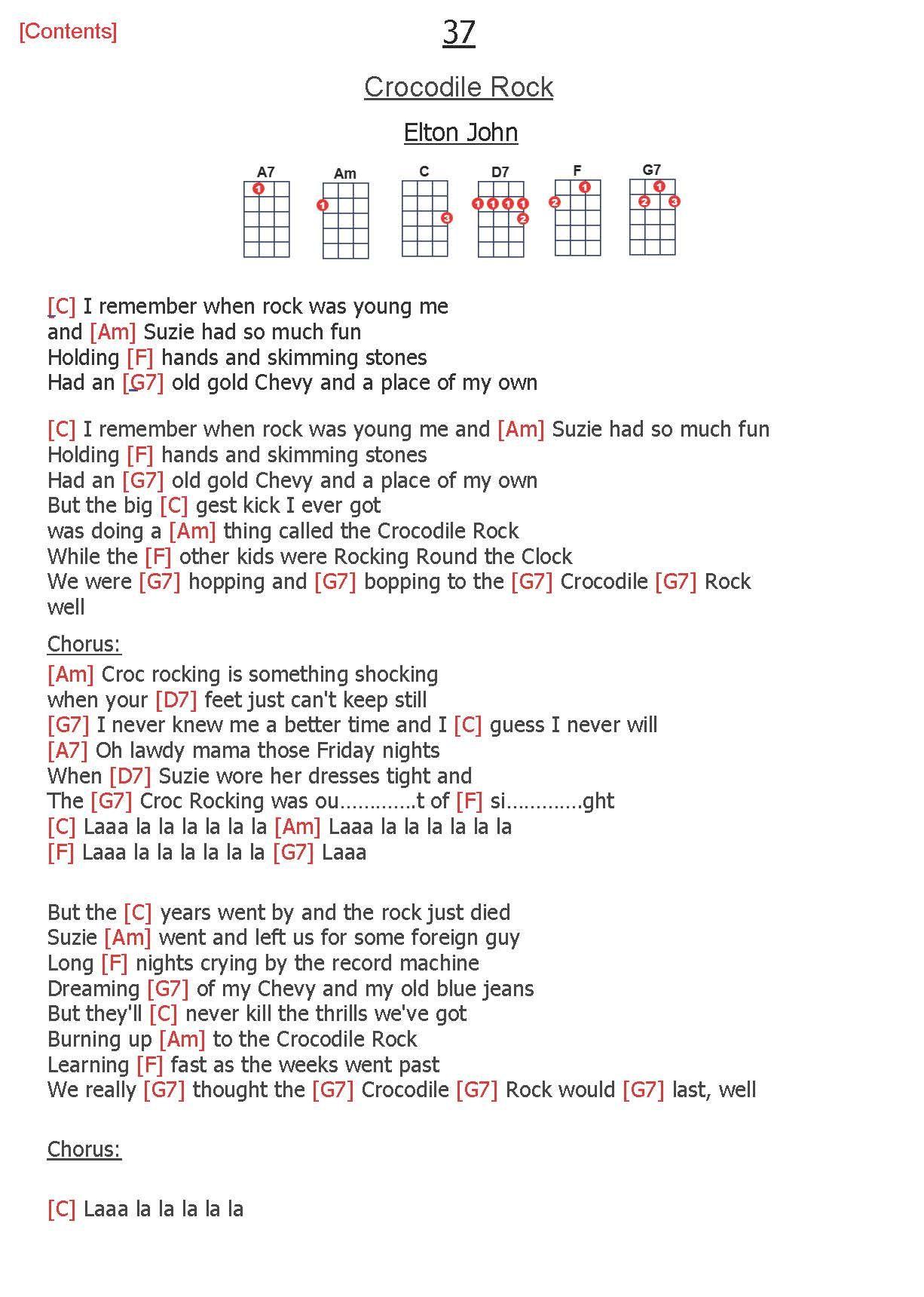 37 Crocodile Rock Elton John With Images Ukulele Songs Uke