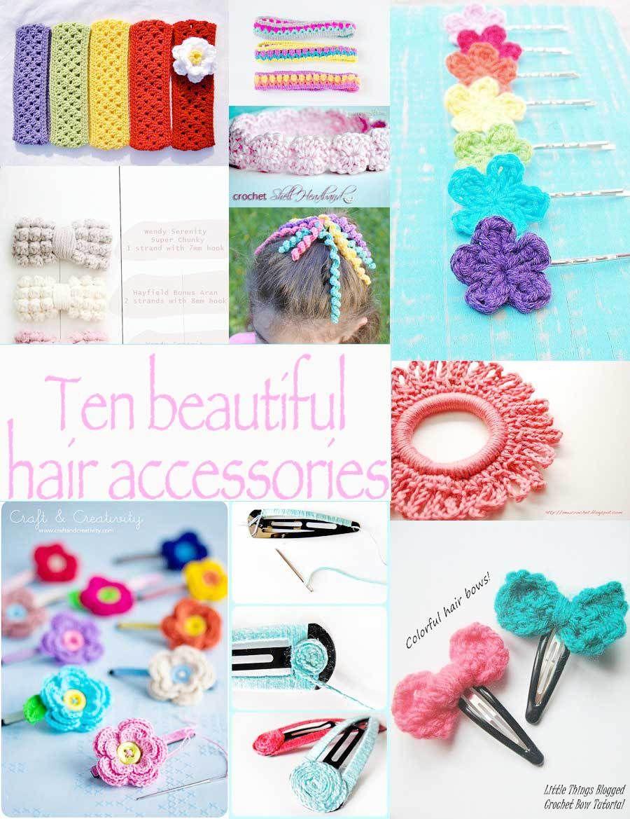 Ten Crochet Hair Accessories   Crochet hair accessories, Crochet ...