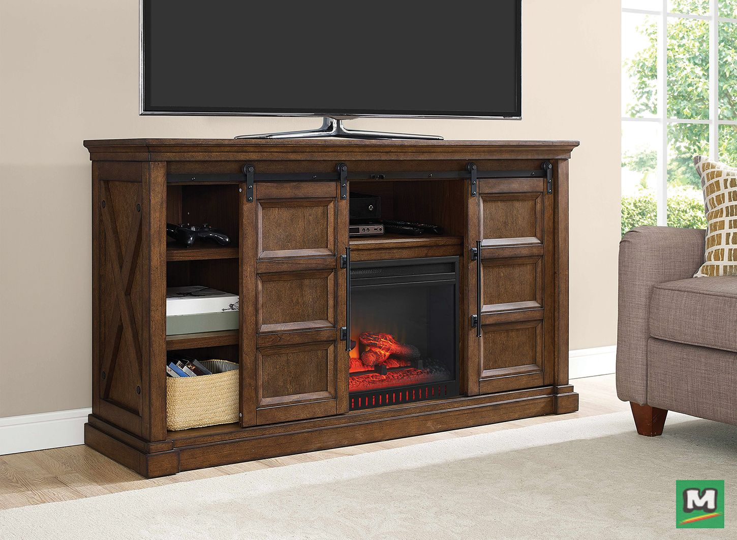 """The Whalen 61"""" Delwood Electric Fireplace Entertainment"""